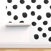 Spoonflower Peel and Stick Removable Wallpaper, Large Dot Black White Modern Home Polka Print, Self-Adhesive Wallpaper 12in x 24in Test Swatch