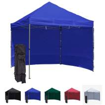 Vispronet 10x10 Pop Up Canopy Tent with 2 Side Walls – Compact Edition – Durable Aluminum Tent Frame, Water-Resistant Canopy and Sidewalls, Premium Stake Kit and Heavy-Duty Wheeled Storage Bag (Blue)