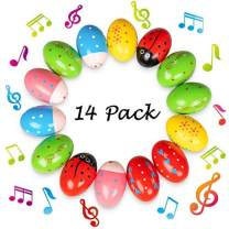 Geefuun 14 Pack Easter Wooden Eggs Shakers Musical Instruments Decorations Percussion Maracas Craft for Kids/Toddlers Hunt Game Gifts Basket Stuffers Fillers Decor