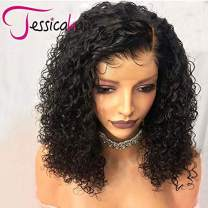 Jessica Hair 180% Density 360 Lace Frontal Wigs For Black Women Curly Human Hair Wigs Brazilian Remy Hair Wet Wavy Lace Wigs Pre Plucked With Baby Hair (10 inch with 180% density)
