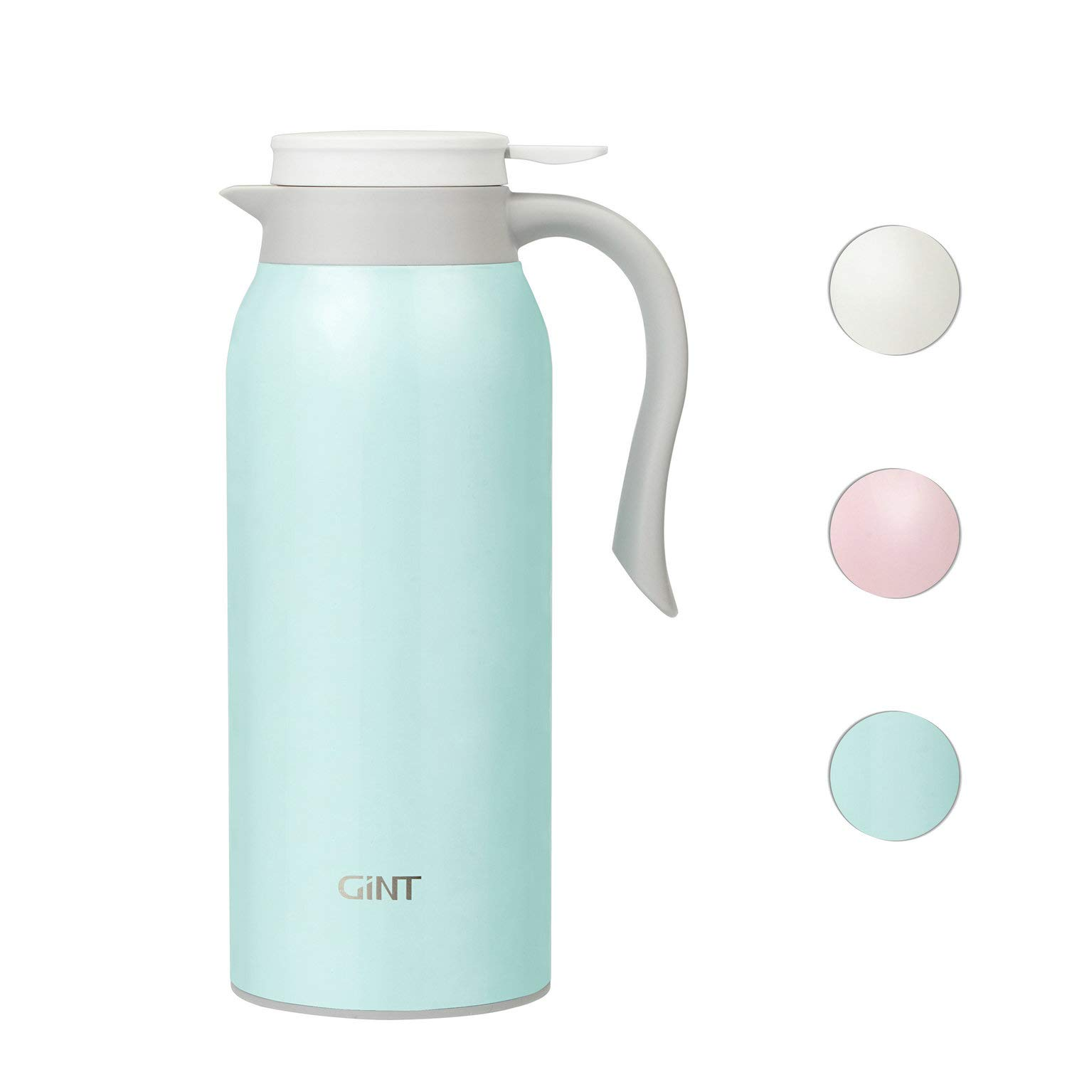 GiNT 51 Oz Stainless Steel Thermal Coffee Carafe, Double Walled Vacuum Thermos, 12 Hour Heat Retention, 1.5 Liter Tea, Water, and Coffee Dispenser, Blue