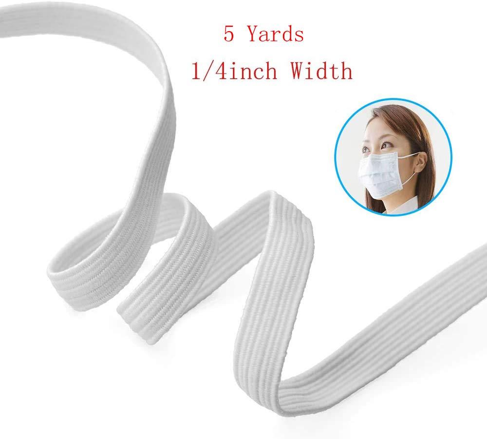 5 Yards Elastic Band Braid Rope Spool Elastic String for Sewing Craft DIY(1/4inch, White)