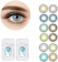 1 Pair of 3 Tone Colored Lenses,Enlarger Eyes Supernatural Lens,Fashion Eye Colors Lenses,Beautiful Color Student Lens Change Eye Color (blue)