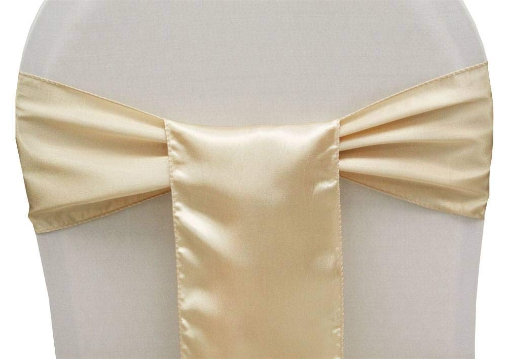mds Pack of 50 Satin Chair Sashes Bow sash for Wedding and Events Supplies Party Decoration Chair Cover sash -Cream