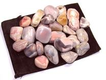 """Zentron Crystal Collection: Tumbled Pink Botswana Agate, Includes Velvet Bag - Large 1"""" Pieces (1 Pound)"""