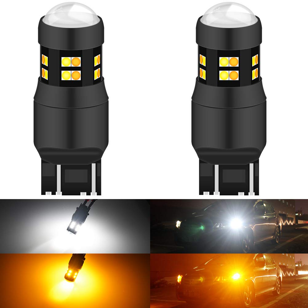 KATUR 7443 7444NA 7440 7440NA 992 Switchback LED Bulbs White/Yellow High Power Extremely Bright 3030 Chipsets with Projector for Turn Signal Lights and Daytime Running Lights/DRL (Pack of 2)
