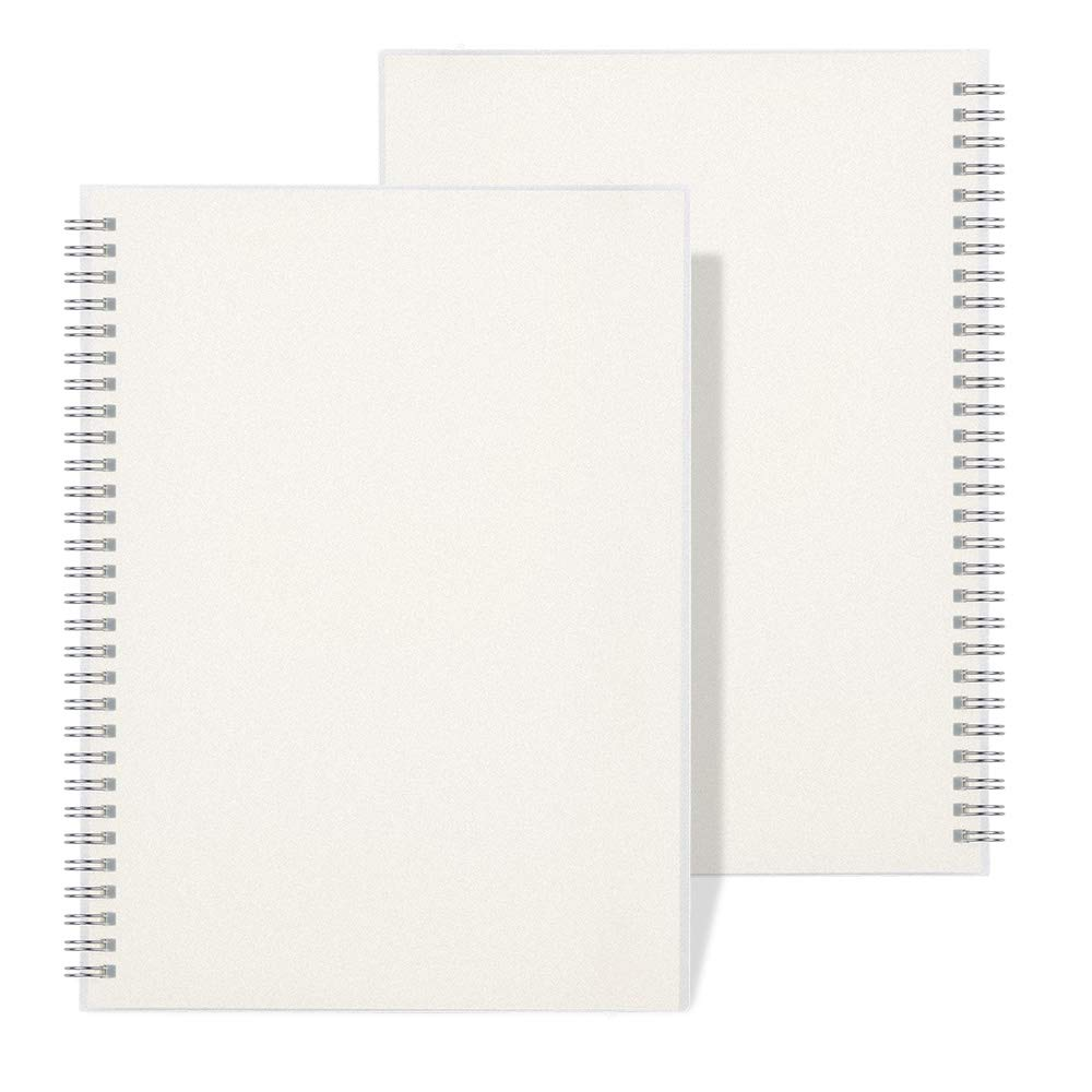 """RETTACY Blank Sketch Spiral Notebook,B5 Wirebound Sketch Notebook for Drawing Sketch Diary 7.3""""X 10"""" 100GSM Thick Paper 160 Pages Each 2-Pack"""