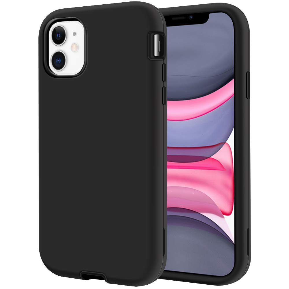 """LOEV iPhone 11 Case, Heavy Duty Shockproof Defender Case Armor Full Body 3 Layer Hybrid Protective Rugged Case Anti-Scratch Hard PC Shell & Soft TPU Bumper Cover for iPhone 11 6.1"""" 2019, Black"""