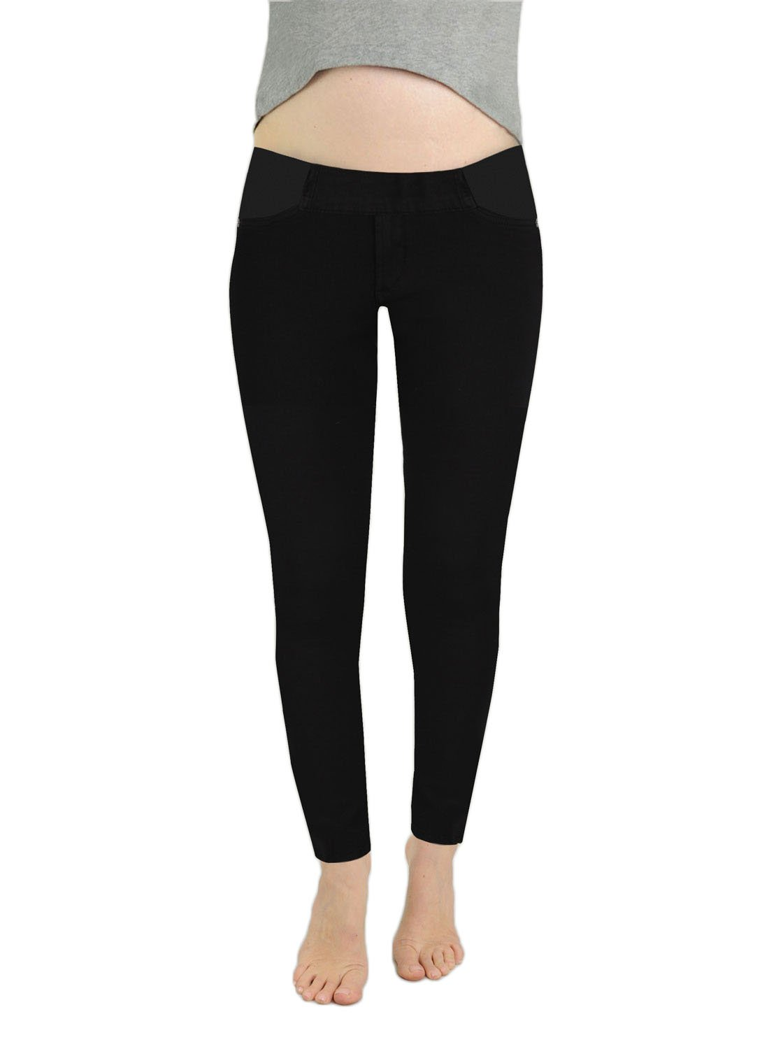 James Jeans Women's Twiggy Under-Belly Pocket Expansion Maternity Legging Jean in Black Swan