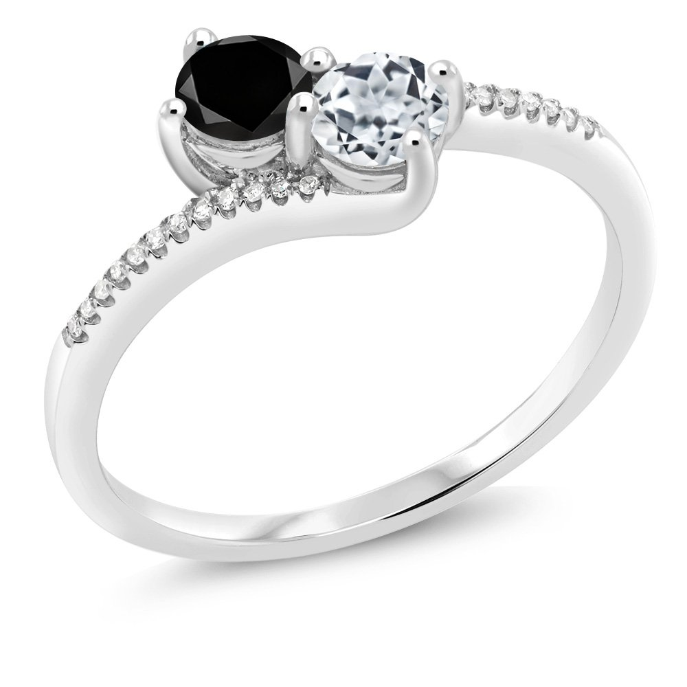 "Gem Stone King 10K White Gold""Forever United"" 2-stone Diamond Right-hand Engagement Birthstone Ring Round Black White Topaz 0.77 cttw (Available 5,6,7,8,9)"