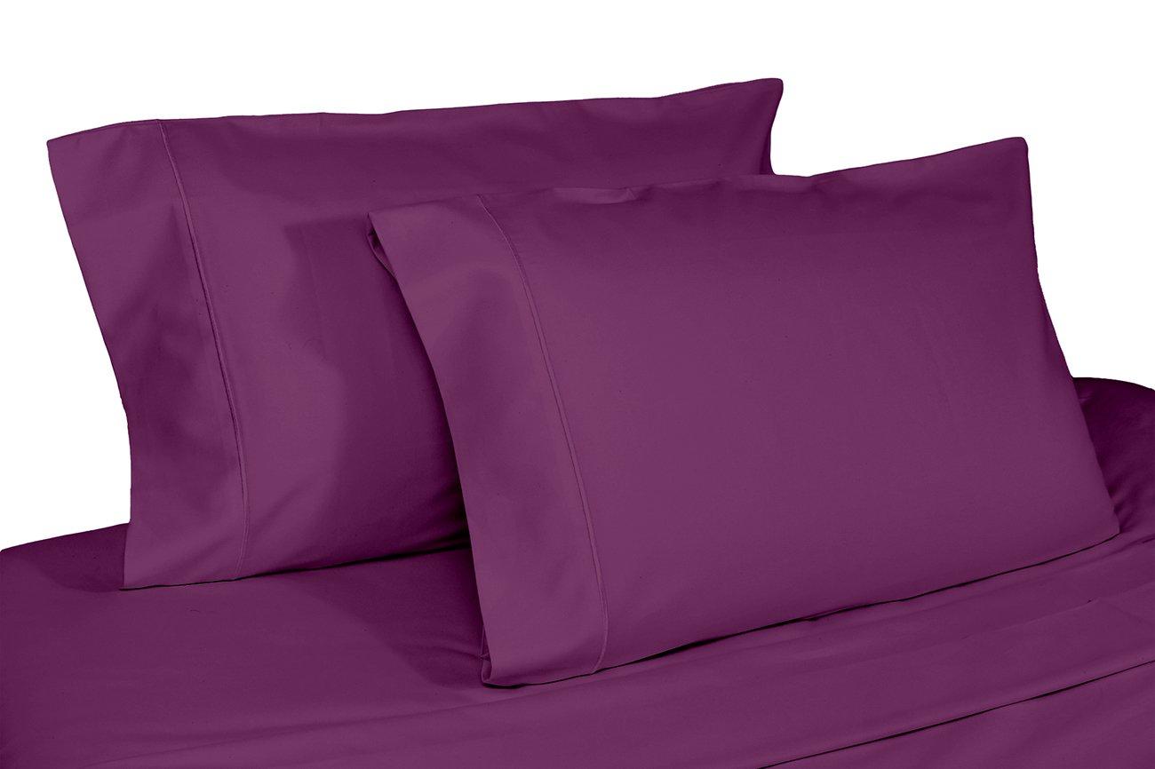 Whisper Organics 100% Organic Cotton Pillow Case Set, 300 Thread Count - GOTS Certified (Standard, Dark Purple)