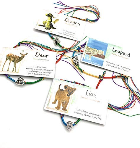 Smiling Wisdom - Deer Dragon Lion Leopard - 4 Totem Spirit Animal Gifts - Children's Birthday, Holiday Favors - Animals Friendship Bracelets European Beads - Boys and Girls - Multicolored