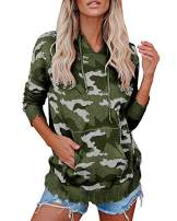 Yacooh Womens Camouflage Drawstring Hooded Sweaters Distressed Long Sleeve Hoodies Pullover Sweatshirts with Pocket