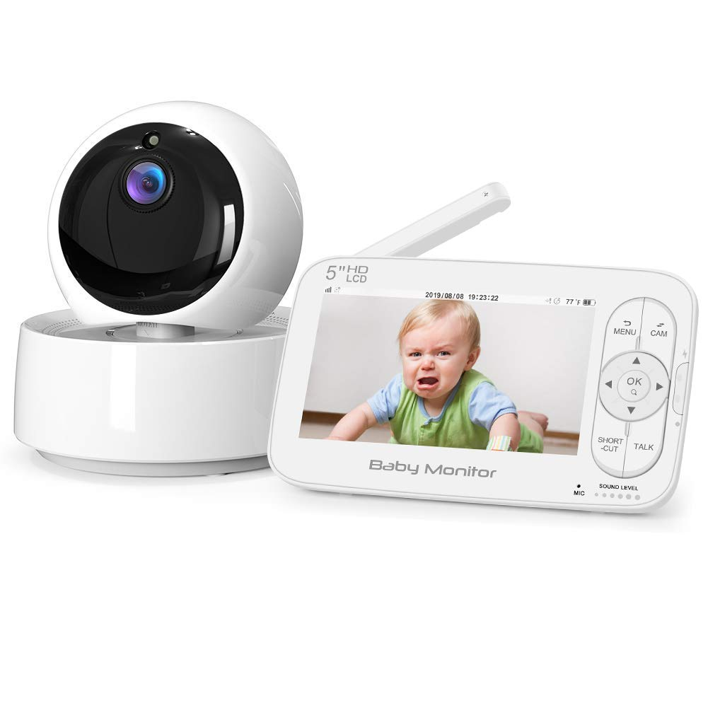 """Baby Monitor, Itomoro 5"""" HD Display Video Baby Monitor with Camera and Audio, 720P Screen,2000mAh Rechargeable Battery, Two-Way Audio, Night Vision, Temperature Monitor, One-Click Zoom,900ft Range"""