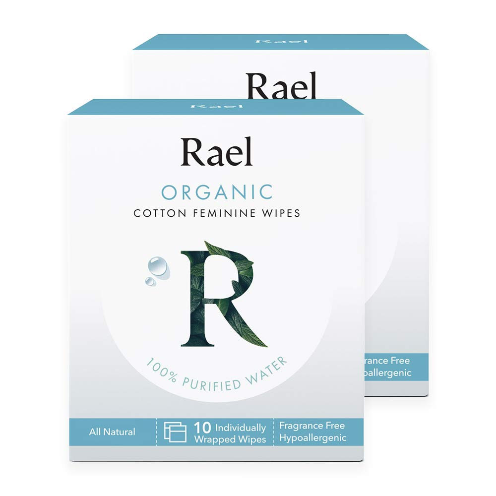 Rael Organic Cotton Feminine Wipes - Unscented, 100% Purified Water, OCS certified organic cotton, ideal for sensitive skin, individually wrapped, (2Pack, 20 Count)