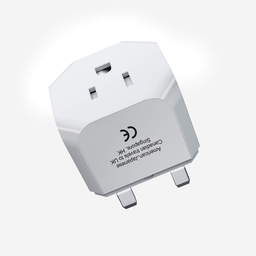IKITS UK Plug Adapter, United Kingdom, London, Ireland, Hong Kong Travel Charger Plug -Type G- USA Ultra Compact & Safe for Smart Phones/Tablet/Camera Charger Universal Grounded Adaptor; White