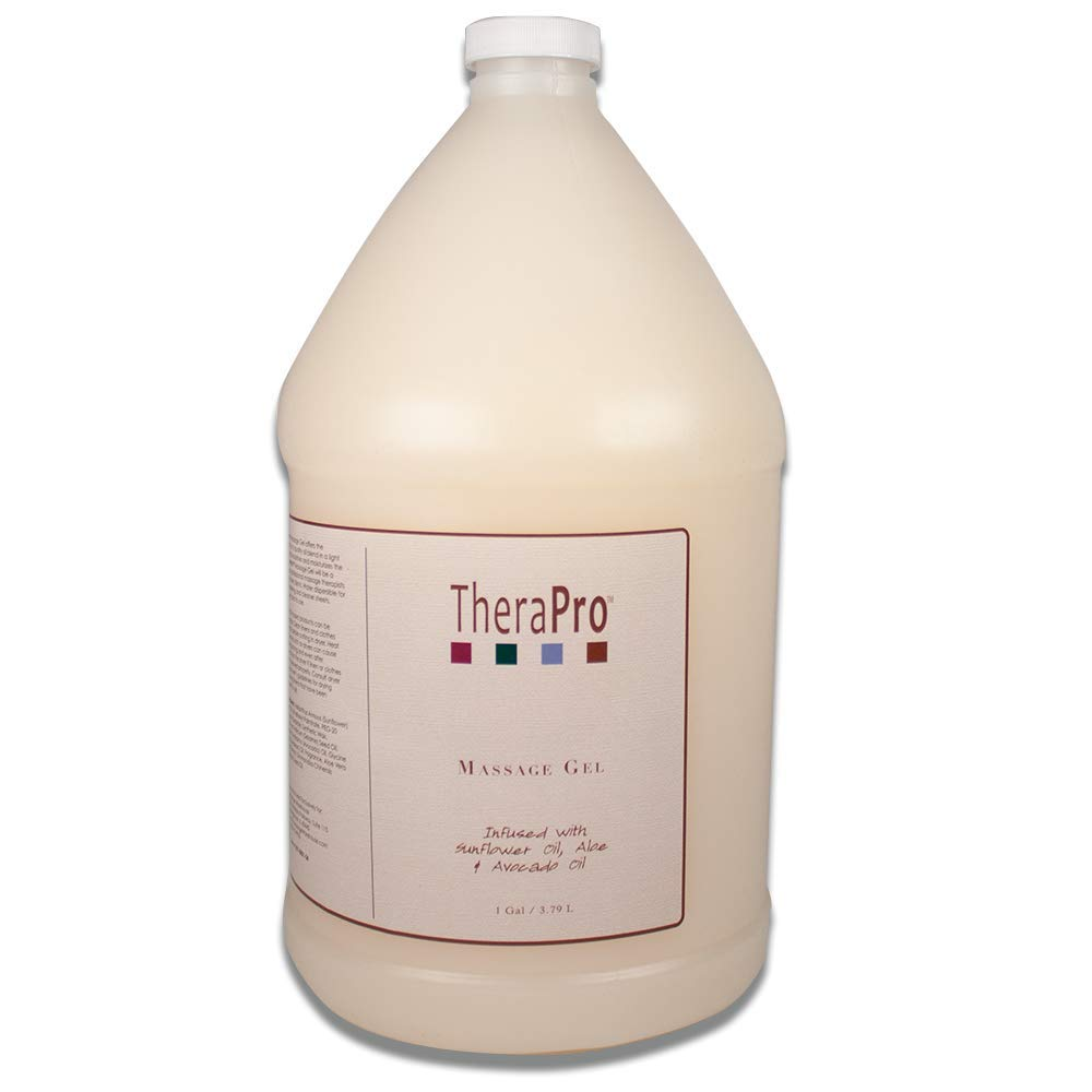 Massage Gel by TheraPro - Infused with Sunflower Oil, Aloe & Avacado Oil - Unscented, Hypoallergenic - Superior Glide & Gentle Friction - Swedish, Deep Tissue, Sports Massage - 1 Gallon (128 oz.)
