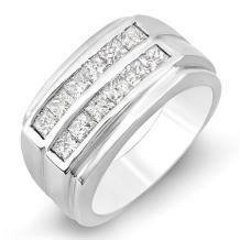 Dazzlingrock Collection 1.35 Carat (ctw) 14k Princess Diamond Mens Anniversary Wedding Band Ring, White Gold