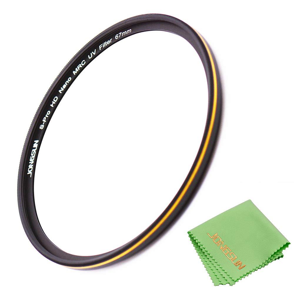 JONGSUN 67mm UV Filter, S-Pro HD Nano MRC16 Camera Ultraviolet Protection Filter, 16 Layers Multicoated, SCHOTT B270, Ultra-Slim, Lens Cloth Kit