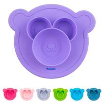 Amaziya Silicone Bearry Bowl, Baby and Toddler Bowl with Nonslip Silicone Base (Purple)