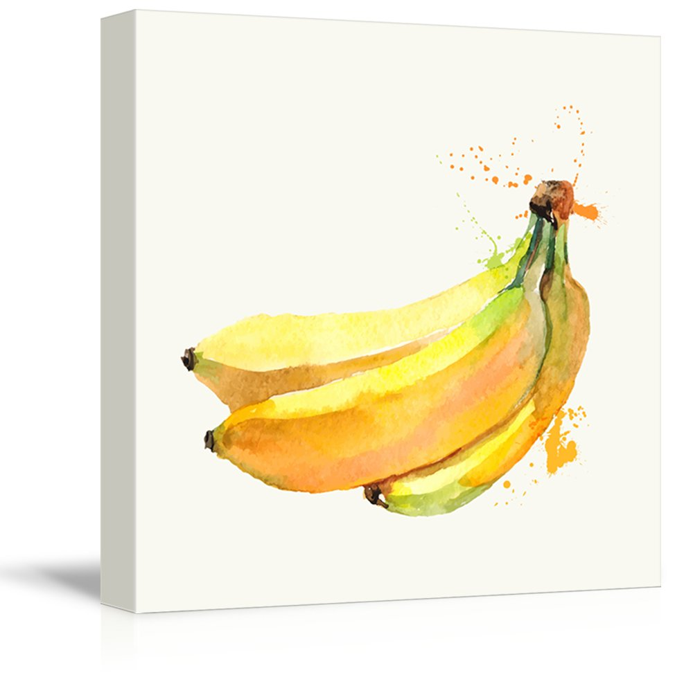 wall26 - Square Canvas Wall Art - Banana Watercolor | Fruits Watercolor Art and Illustrations - Giclee Print Gallery Wrap Modern Home Decor Ready to Hang - 12x12 inches