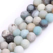 """Amazonite Beads for Jewelry Making Natural Gemstone Semi Precious 10mm Round Faceted Frosted Matte Mixed Color 15"""" JOE FOREMAN"""