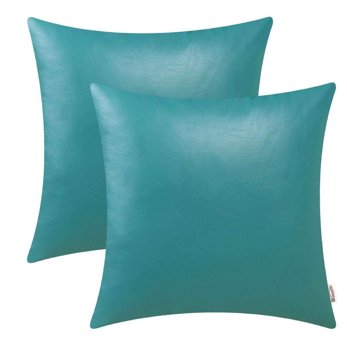 BRAWARM Pack of 2 Cozy Throw Pillow Covers Cases for Couch Sofa Home Decoration Solid Dyed Soft Faux Leather Both Sides 20 X 20 Inches Teal