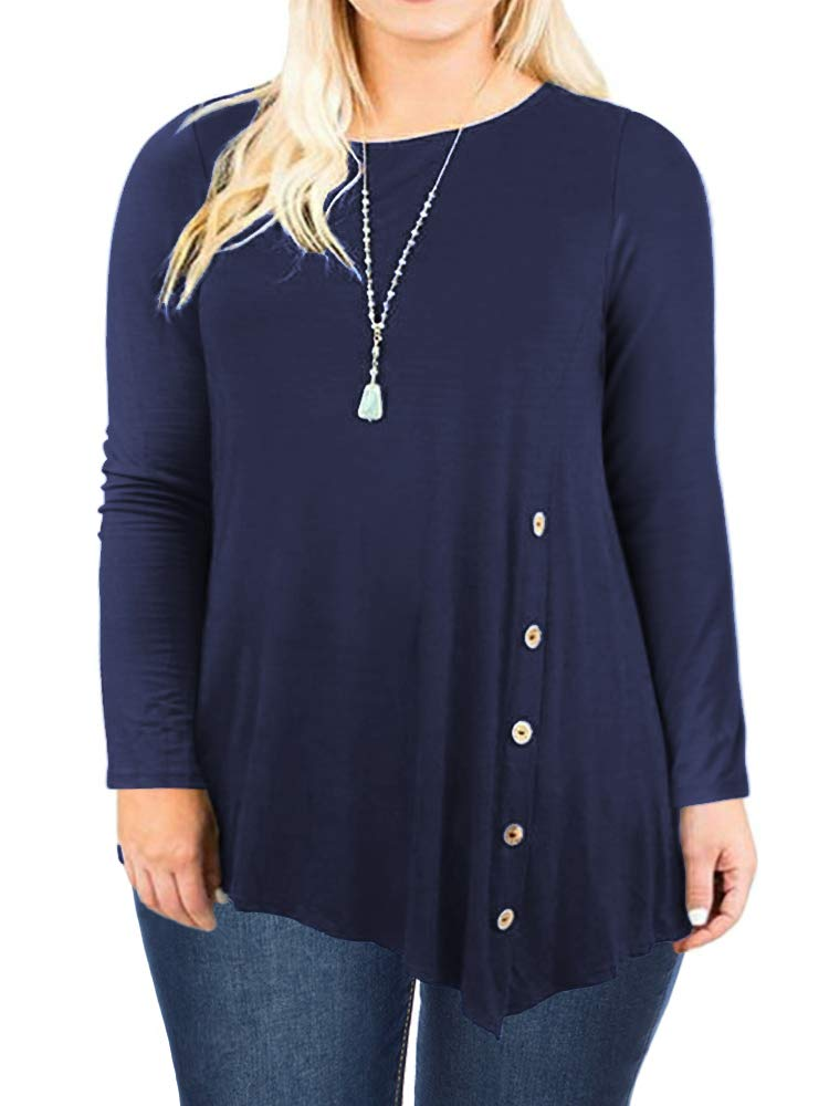 DOLNINE Plus Size Tops for Women Long Sleeve Shirts Buttons Tunics