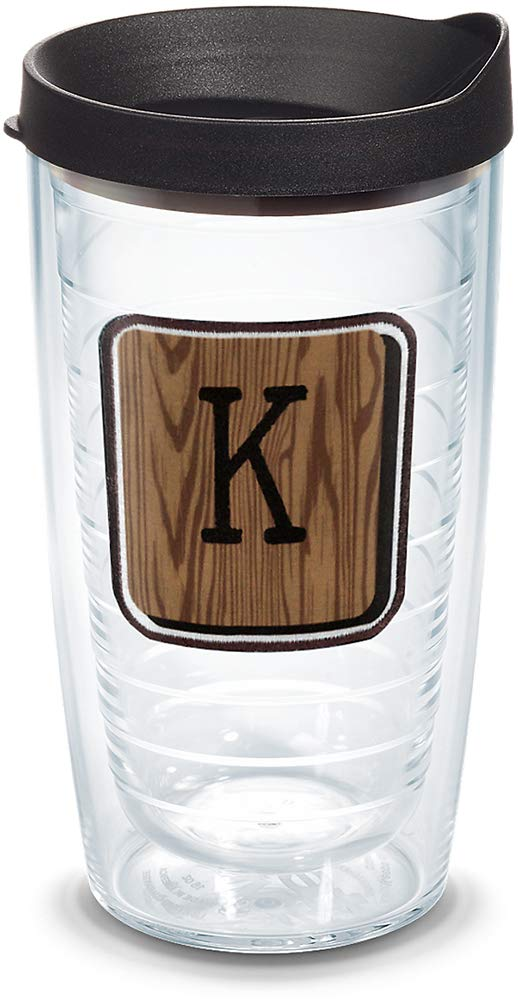 Tervis 1316680 INITIAL-K Wood Tile Insulated Tumbler with Emblem and Lid, 16 oz - Tritan, Clear