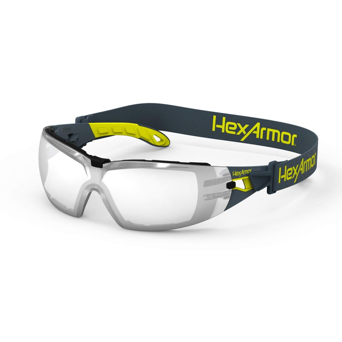 HexAmor MX200G Silver Mirror Anti Fog Spoggle Safety Glasses with Foam Gasket