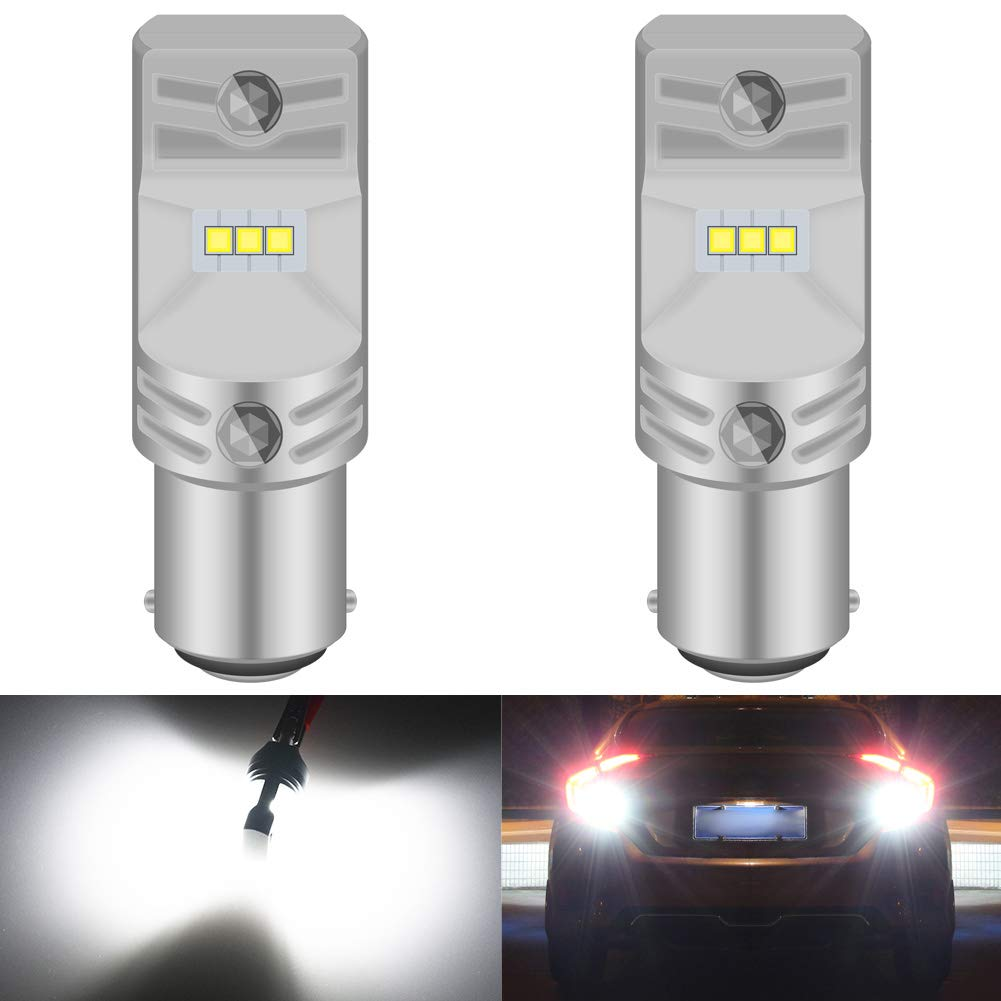 KATUR BA15D 1142 1076 1176 LED Bulb High Power CSP Chips Extremely Bright 1600 Lumens 6500K Xenon White Replace for Back up Reverse Brake Tail Turn Signal Lights,Pack of 2