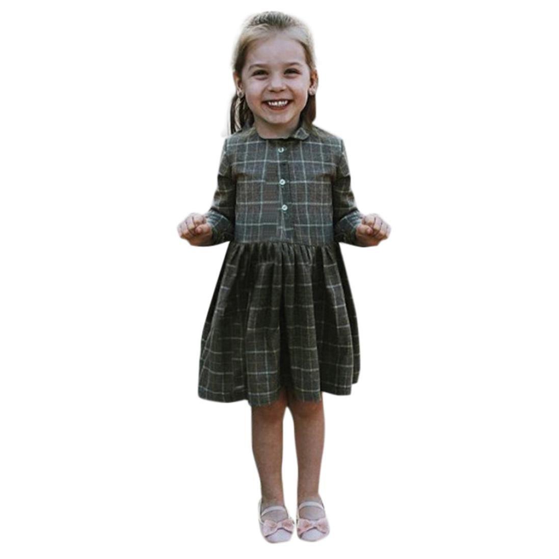 Lanhui Toddler Baby Girl Denim Flare Sleeve Dress Lace Splice Sundress Clothes