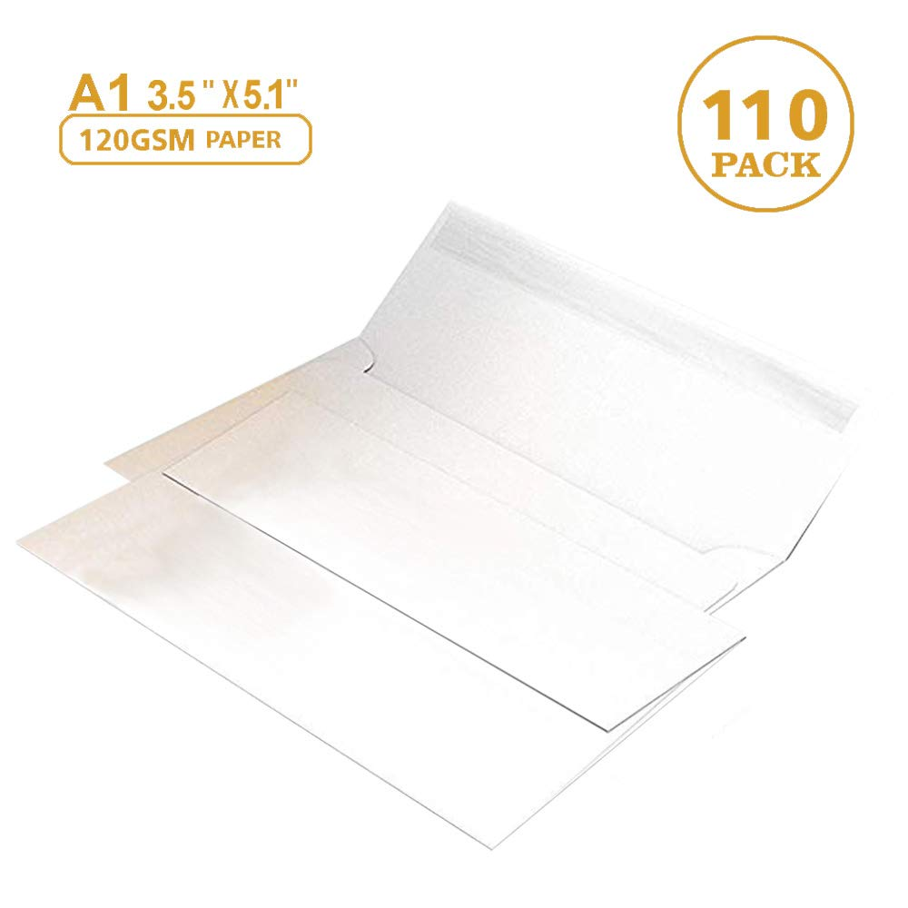 """110 3.5x5 White RSVP Small Envelopes - A1 - for Weddings Response Cards, Baby Showers, Thank You Notes, Photos and Any 3"""" x 5"""" Inserts (3 5/8 x 5 1/8 inches) - W/Peel, Press & Self Seal - Square Flap"""