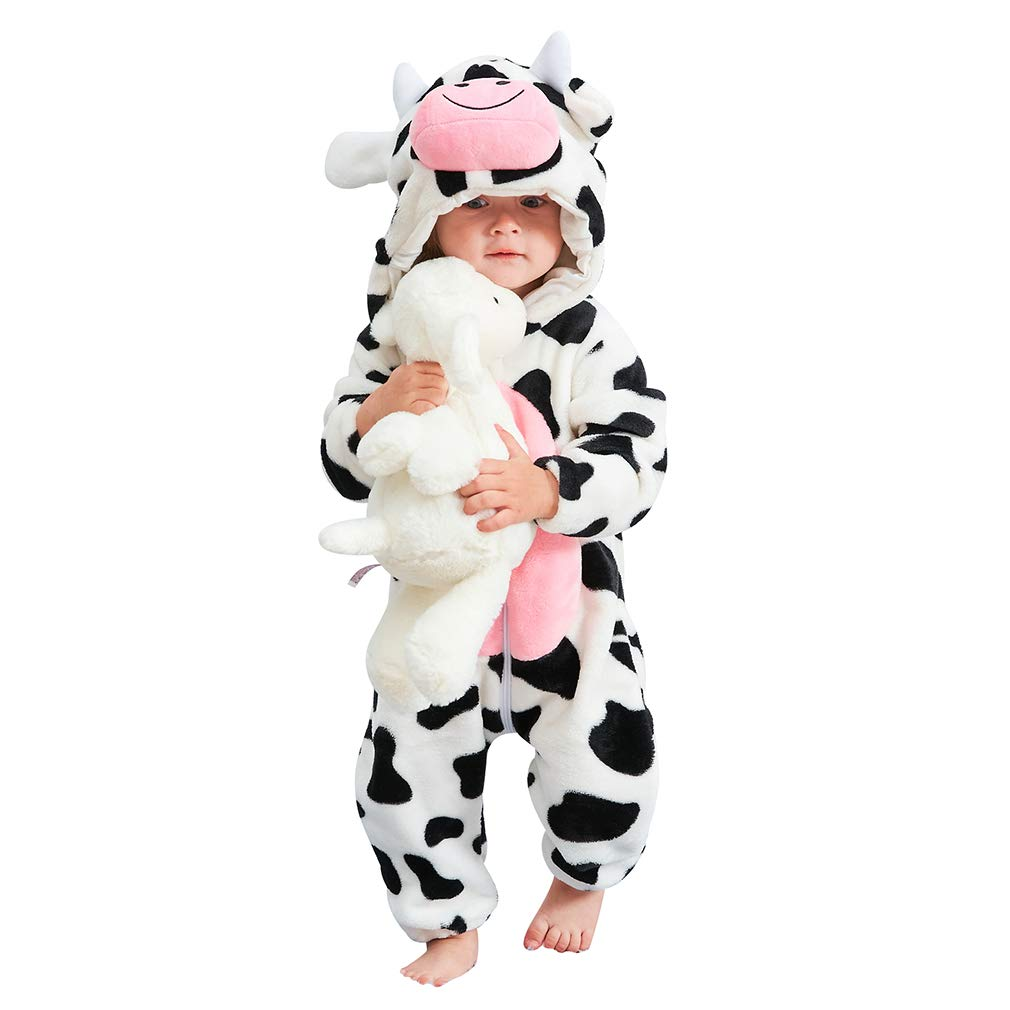 IDGIRL Baby Costume,Animal Cosplay Pajamas for Boys Girls Winter Flannel Romper Outfits 3-36 Months