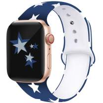Kaome Floral Bands Compatible with App le Watch Band 42mm 44mm, Soft Silicone Fadeless Pattern Printed Replacement Strap Bands for Women, Compatible with iWatch Series 5/4/3/2/1, M/L