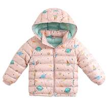 marc janie Girls Boys' Light Weight Down Jacket Packable Removable Hooded Down Puffer Coat, 36+ Colors 6 Years Pink Planet