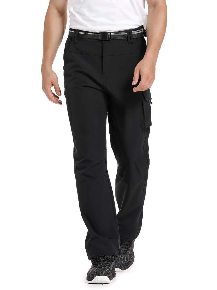 Men's Fleece Linning Hiking Pants, Soft Shell Waterproof Winter Ski Pants for Men