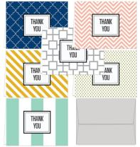 Note Card Cafe Thank You Cards with Gray Envelopes | 36 Pack | Modern Thank You | Blank Inside, Glossy Finish | for Greeting Cards, Occasions, Birthdays, Gifts