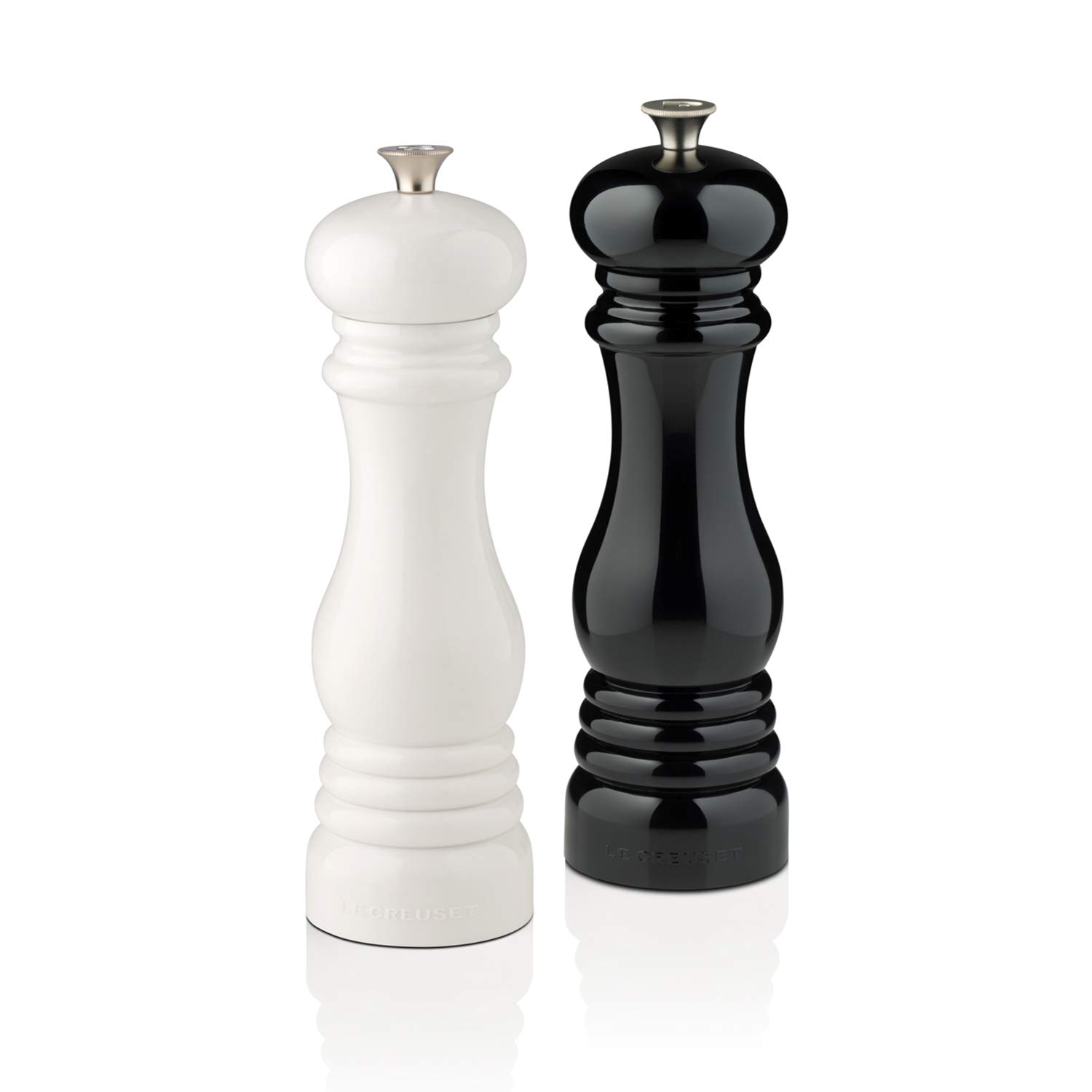 Le Creuset MG610-BW Salt and Pepper Mill Set, 8-Inch Black and White