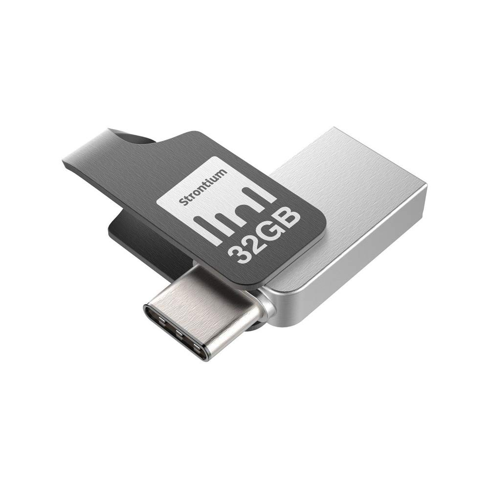 Strontium Nitro Plus 32GB Dual USB C 3.1 Metal Flash Pen Drive OTG Up to 150MB/s for Type C Ready Smartphones Tablets New MacBook (SR32GSLOTGCY)