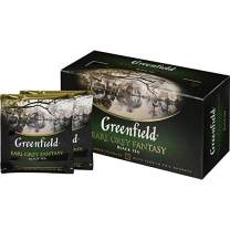 Greenfield Earl Grey Fantasy Сlassic Collection Black Tea Finely Selected Speciality Tea 25 Double Chamber Teabags With Tags in Foil Sachets