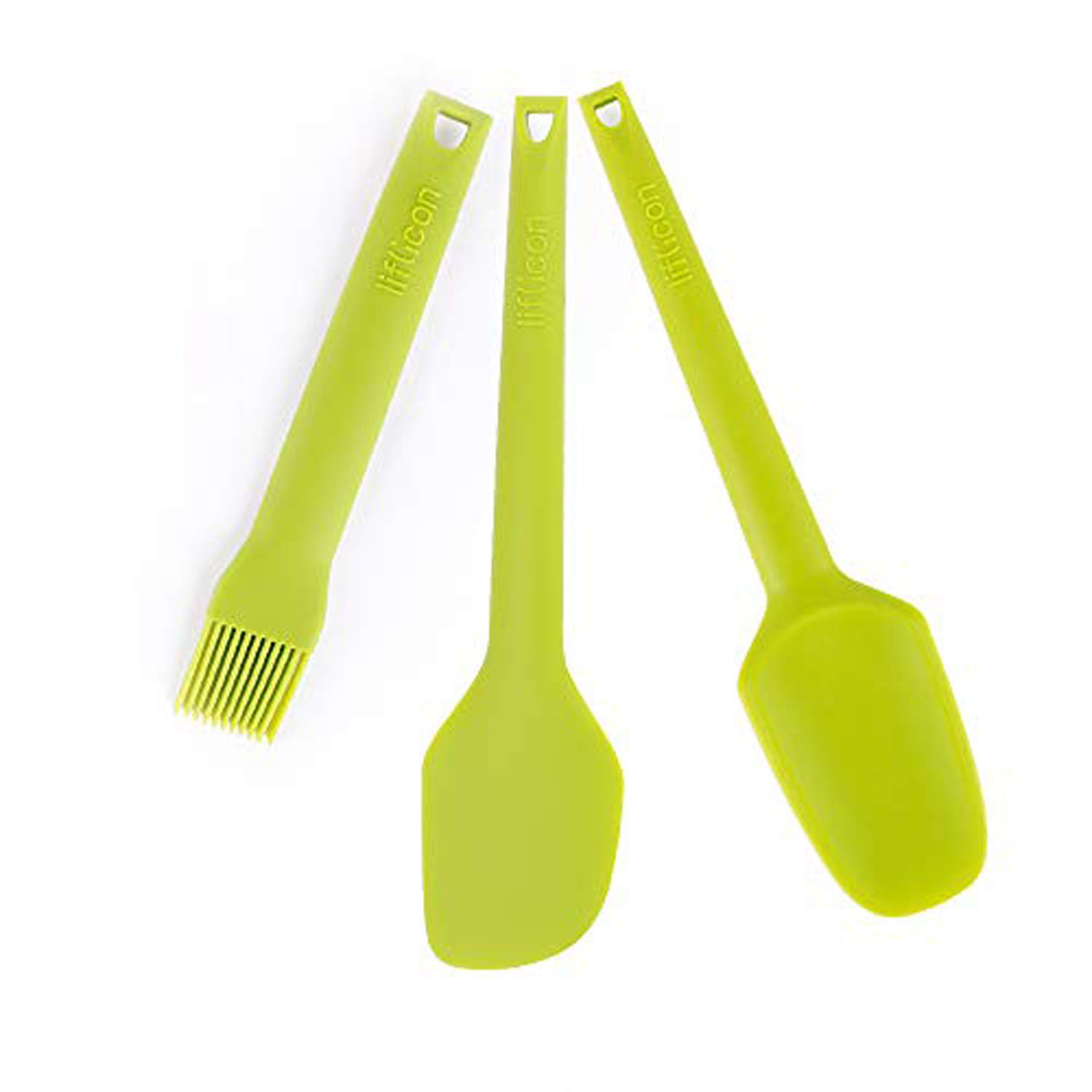 Liflicon Baking Tools Set Heat Resistant Basting Pastry Brushes for BBQ Grilling Baking Spatula knife/kitchen Spatula Spoon Dishwasher Safe - Green
