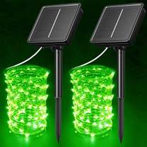 AcaJoe Solar Fairy String Lights 2 Pack 40 ft 120 LED 8 Modes Twinkle Lighting Outdoors Waterproof Solar Powered Silver Wire Lights