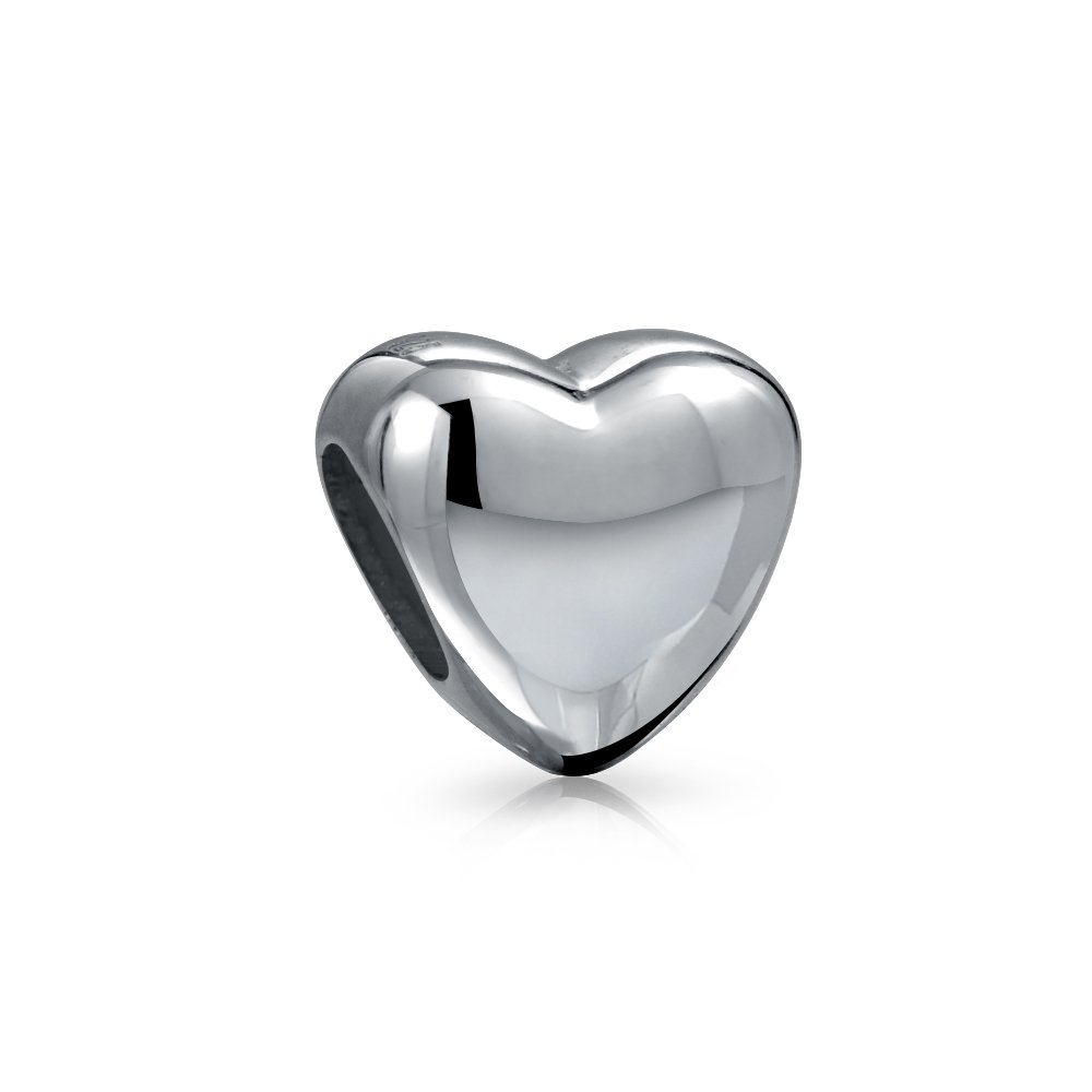 Personalized Engravable Basic Simple Heart Shape Charm Bead For Women Teen 925 Sterling Silver Fits European Bracelet