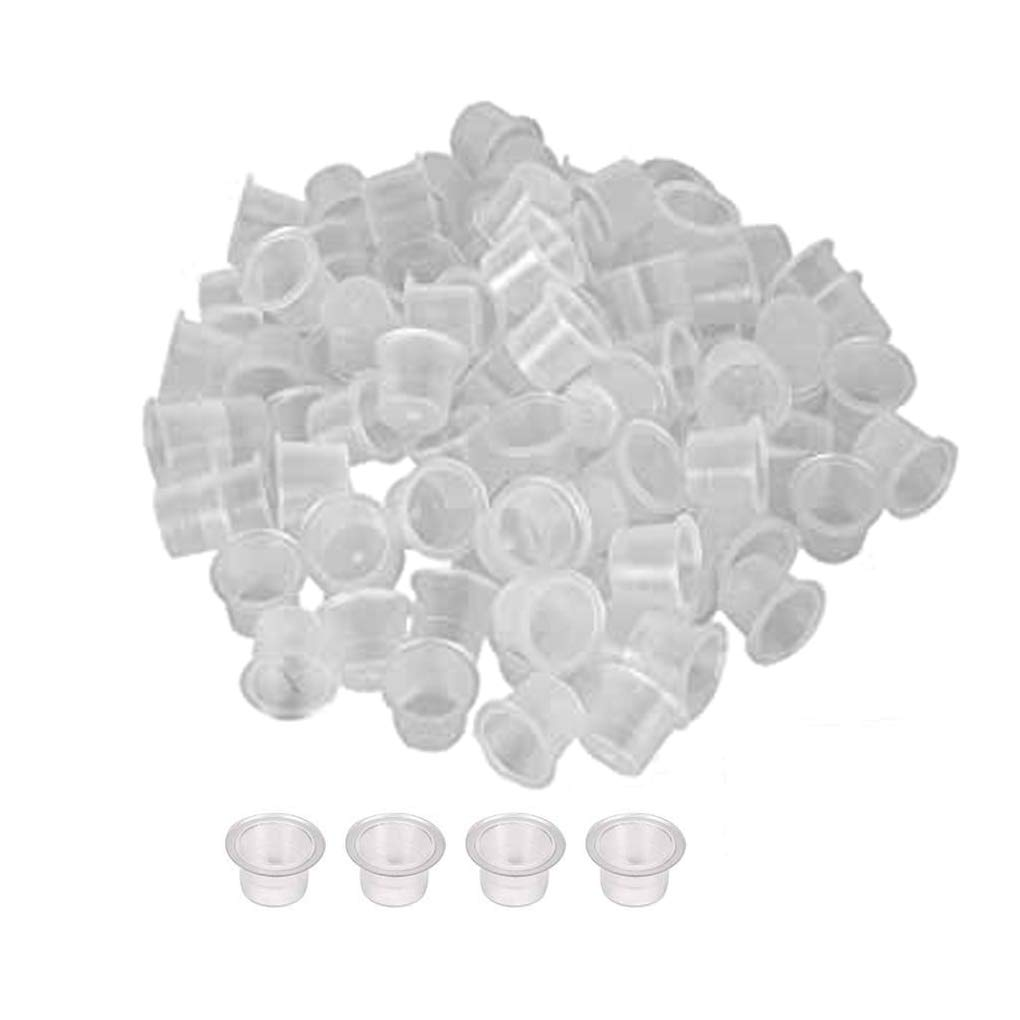 JISTL Tattoo Ink Cups Tattoo Rings Cups Glue Holder Disposable,Tattoo Pigment Pallet Holder Rings Palette For Eyelash Extension Makeup Nail Art (L, White-200Pcs)