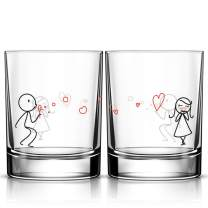 BOLDLOFT From My Heart to Yours Couple Glass Set- Wife Gifts Girlfriend Gifts- Wedding Glasses for Bride and Groom- Gifts for Her Valentines Day Anniversary Wedding- Home Gifts for Couples
