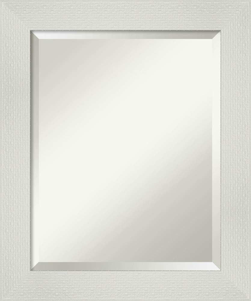 Framed Vanity Mirror | Bathroom Mirrors for Wall | Mosaic White Mirror | Wall Mounted Mirror | Small Mirror | 24.25 x 20.25 in.