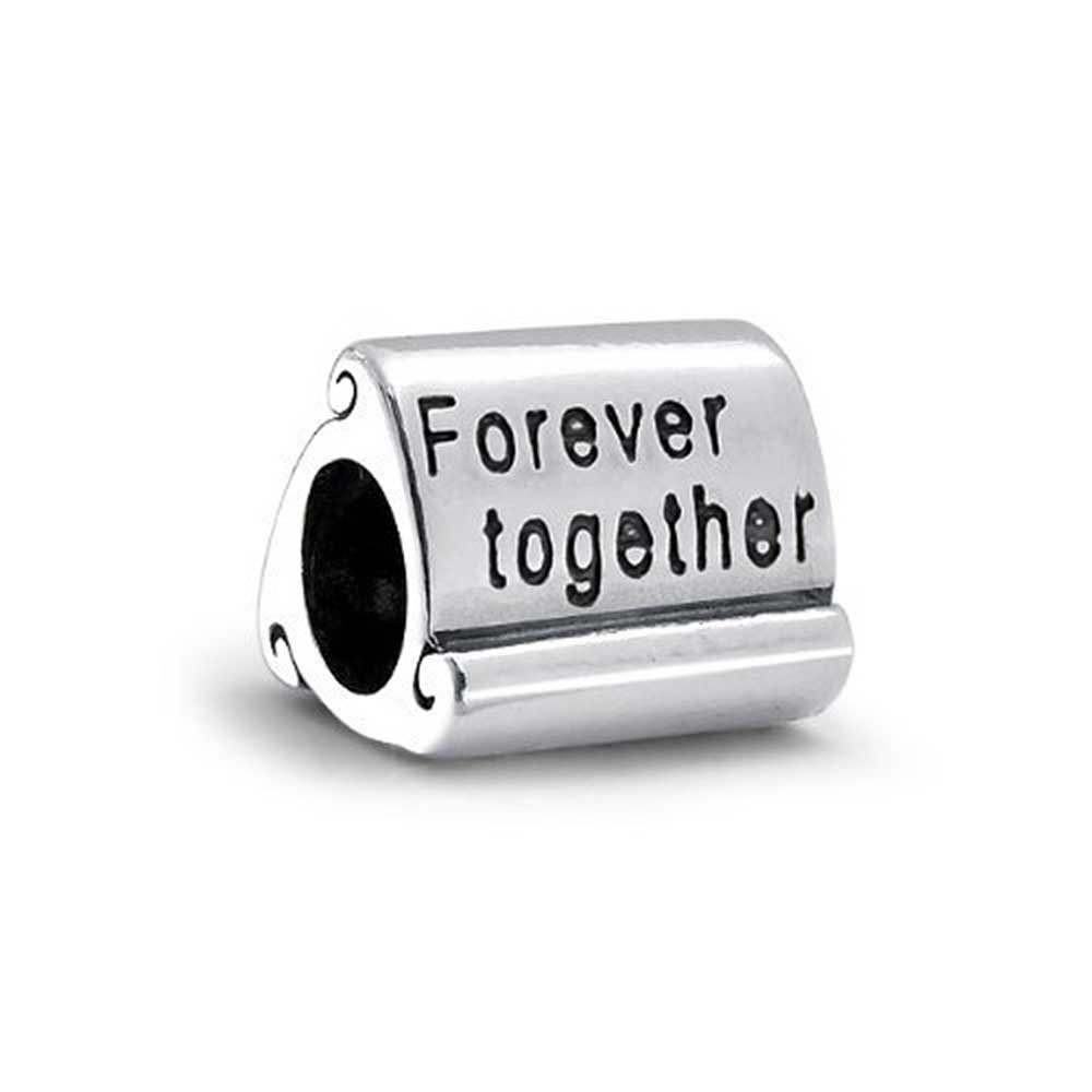 Love Family Couples Inspirational Words Mantra Forever Together Charm Bead For Women For Teen 925 Sterling Silver