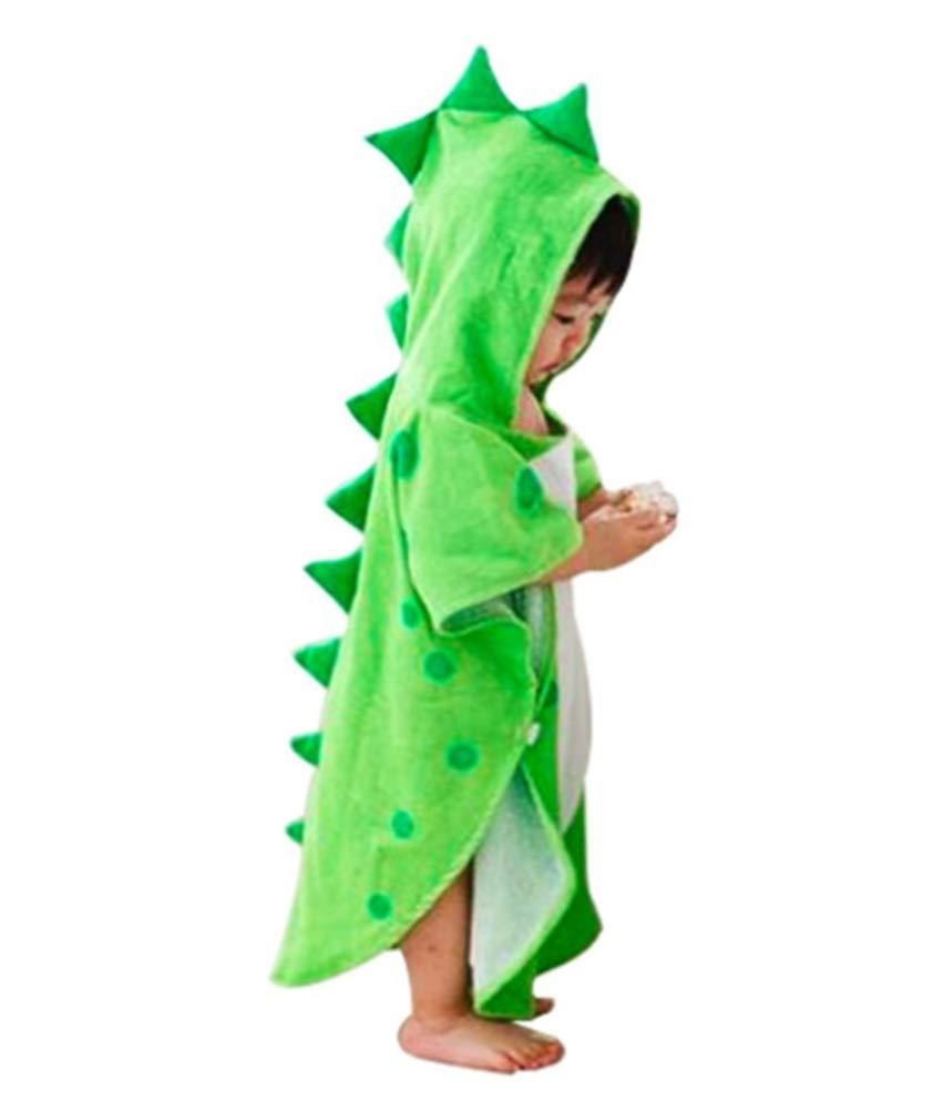 Maleroads Soft Cotton Baby Bath Towel Beach Towel Bathrobe for Kids 0-6 Years (Green Dinosaur, 21.545inch)
