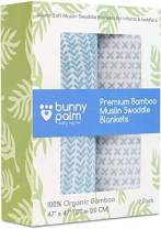 Muslin Swaddle Blankets - Organic Bamboo Swaddle Blanket Boys Set of 2 - Soft Baby Blanket - Nursery Swaddling - Newborn Receiving, Swaddle Wrap for Infant or Toddler - Shower Gift with Blue Palms